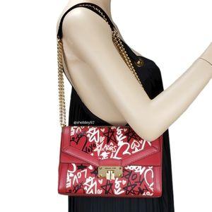 Michael Kors Kinsley Graffiti MD Shoulder Bag Red